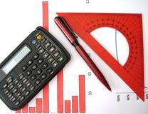 Calculadora, pluma, regla Fotografía de archivo libre de regalías