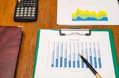 Calculadora, pluma y cartas financieras Foto de archivo