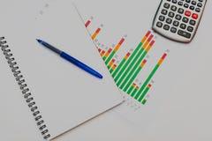 Calculadora, pluma y vidrios con los gr?ficos financieros foto de archivo