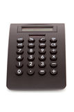 Calculadora preta por o tempo do imposto Fotografia de Stock Royalty Free