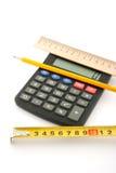 Calculadora, régua e lápis Imagens de Stock Royalty Free