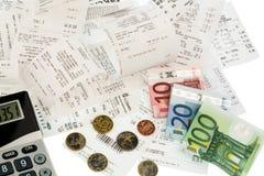 Calculadora, recibos, contas Imagem de Stock