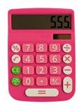 Calculadora rosada atractiva Imagenes de archivo