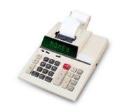Calculadora velha - dinheiro Fotos de Stock Royalty Free