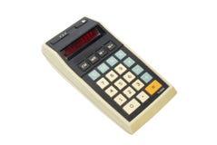 Calculadora vieja, aislada en blanco Imagen de archivo