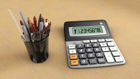 Calculadora y útil Foto de archivo libre de regalías