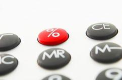 Calculadora y buttom rojo 2 Imagen de archivo libre de regalías