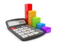 Calculadora y carta de asunto colorida. Icono 3D