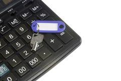 Calculadora y clave Imagen de archivo