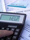 Calculadora y cuentas Imagen de archivo libre de regalías