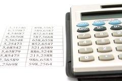 Calculadora y datos Fotos de archivo libres de regalías