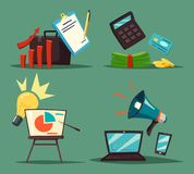 Calculadora y diagrama, billetes de banco y altavoz stock de ilustración