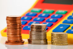 Calculadora y dinero Imagen de archivo