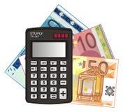 Calculadora y dinero ilustración del vector