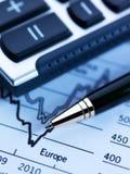 Calculadora y finanzas Imágenes de archivo libres de regalías