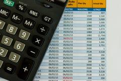 Calculadora y hoja de coste Fotos de archivo libres de regalías
