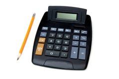 Calculadora y lápiz Fotografía de archivo