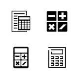 calculadoras Iconos relacionados simples del vector Foto de archivo libre de regalías