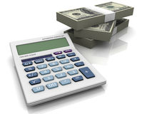 Calculaor and money. Royalty Free Stock Images