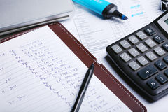 Calculate. Some tools that work for summing costs Royalty Free Stock Image