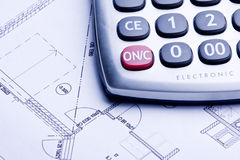 Calculate. A technical design with a calculator Stock Photography
