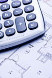Calculate. A technical design with a calculator Stock Images