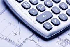 Calculate. A technical design with a calculator Stock Photo