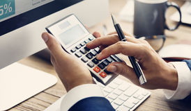 Calculate Balance Financial Accounting profit Debt Concept Royalty Free Stock Images