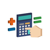 Calculate on Calculator symbol. Flat Isometric Icon or Logo. Royalty Free Stock Images