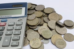 Calculate Coins royalty free stock images