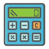 Calculate colorful line icon, business calculator Stock Photo