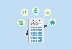 Calculate finance with calculator. Calculator can calculate everything about finance such as tax, deposit, exchange rate, dividend and stocks Royalty Free Stock Photo