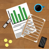 Calculate finance marketing. Economic file analytics, vector illustration Stock Image