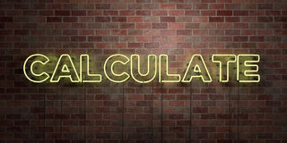 CALCULATE - fluorescent Neon tube Sign on brickwork - Front view - 3D rendered royalty free stock picture Royalty Free Stock Photo