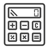Calculate line icon, business and calculator Stock Images