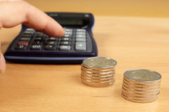 Calculate money. Royalty Free Stock Images