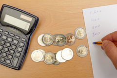 Calculate money. Royalty Free Stock Photo