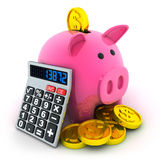Calculate and moneybox. Calculate and pig moneybox (done in 3d Royalty Free Stock Photography