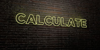 CALCULATE -Realistic Neon Sign on Brick Wall background - 3D rendered royalty free stock image Royalty Free Stock Images