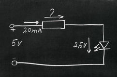 Calculate the resistor. On blackboard painted with chalk electrical scheme. Calculate the resistor Royalty Free Stock Images