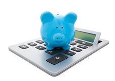 Calculate the Savings with Clipping Path. A blue piggy bank sitting on a large calculator.  Conceptual savings.  Isolated with clipping path Stock Image