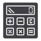 Calculate solid icon, business and calculator Stock Photography