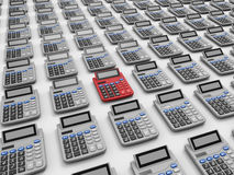 Calculate taxes - target in line concept. 3D render illustration of the concept of calculating taxes. Multiple calculators are  on a white background with Stock Photography