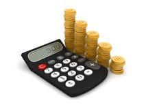 Calculater gold coin Stock Photo