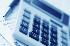 Calculating. And sorting bills for payment royalty free stock image