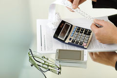 Calculating bills Royalty Free Stock Photo