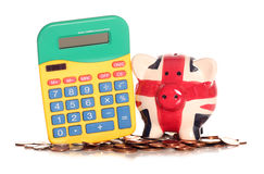 Calculating britains finances. Studio cutout Royalty Free Stock Photos