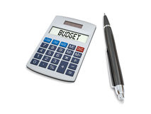 Calculating budget. Concept of budgeting with calculator and pen on white background Stock Image