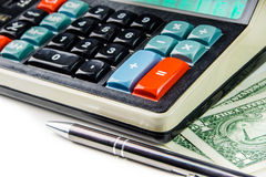 Calculating business success on retro style calculator Stock Image