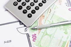 Calculating costs of building a home Stock Images